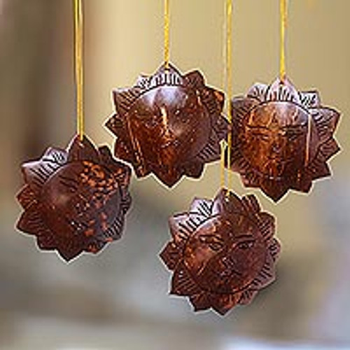 Handmade Sun Coconut Shell Ornaments from Bali (Set of 4) 'Tegalalang Sun'