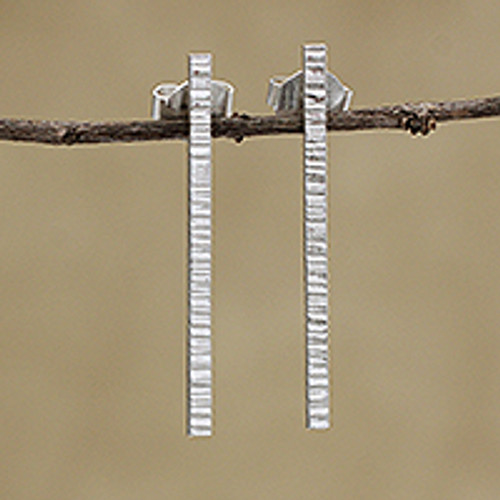Combination Finish Sterling Silver Drop Earrings from Brazil 'Great Bars'