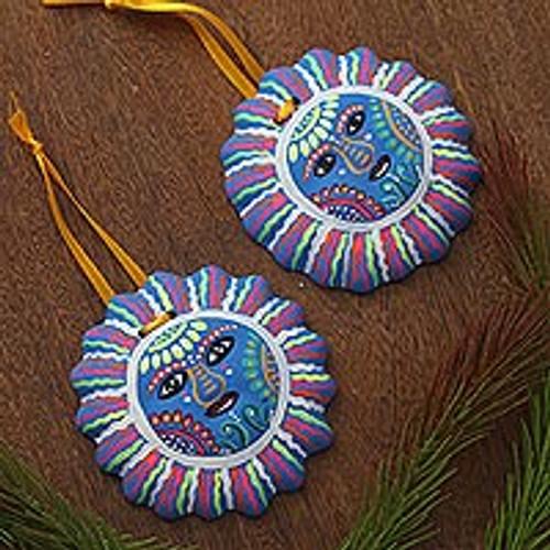 Hand-Painted Ceramic Sun Ornaments in Azure (Pair) 'Hopeful Sun'