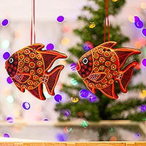 Hand-Painted Ceramic Fish Ornaments in Red (Pair) 'Red Fish'