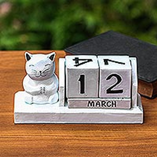 Handmade White Wood Cat Calendar from Bali 'Cat of Fortune'