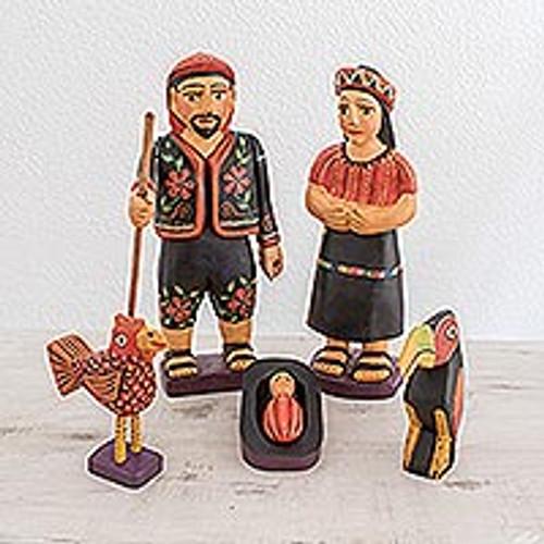 Cultural Wood Nativity Scene from Guatemala (7 Piece) 'Chichicastenango Nativity'