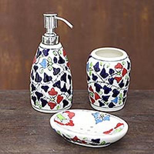 Colorful Floral Ceramic Bathroom Set from India (Set of 3) 'Spring Delight'