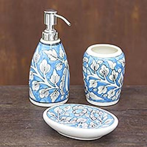 Floral Ceramic Bathroom Set in Light Blue (Set of 3) 'Sky Garden'