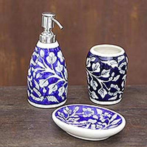 Floral Ceramic Bathroom Set in Dark Blue (Set of 3) 'Dark Blue Garden'