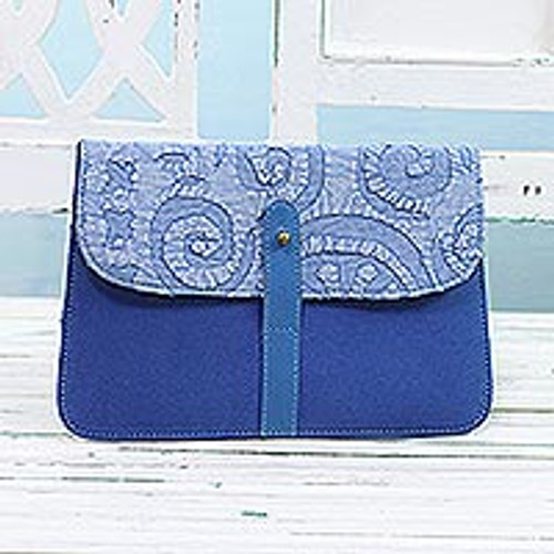 Leather Accent Cotton Applique Tablet Case in Blue 'Work and Play'