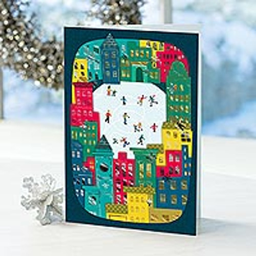 Contemporary Holiday Cards (set of 12) 'City Center Ice Rink'