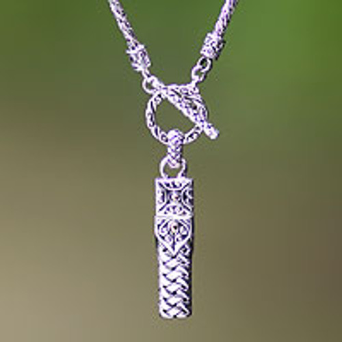 Mens Sterling Silver Pendant Necklace 'Dragon Palace'