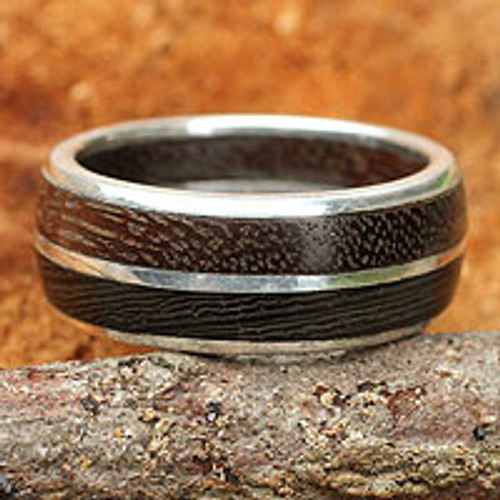 Mens Wood Band Ring 'Natural Guy'