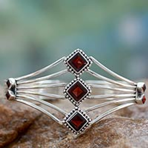 Modern Sterling Silver and Faceted Garnet Cuff Bracelet 'Glamour'