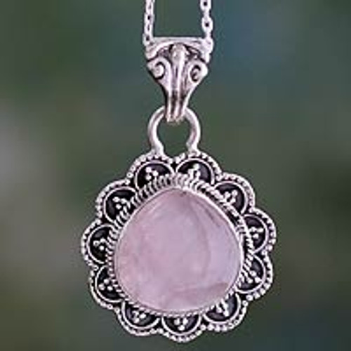 Artisan Crafted Silver and Rose Quartz Pendant Necklace 'Fair Rose'