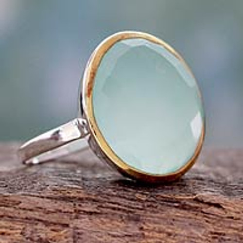Sterling Silver and 18k Gold Cocktail Ring with Chalcedony 'Aquatic Allure'