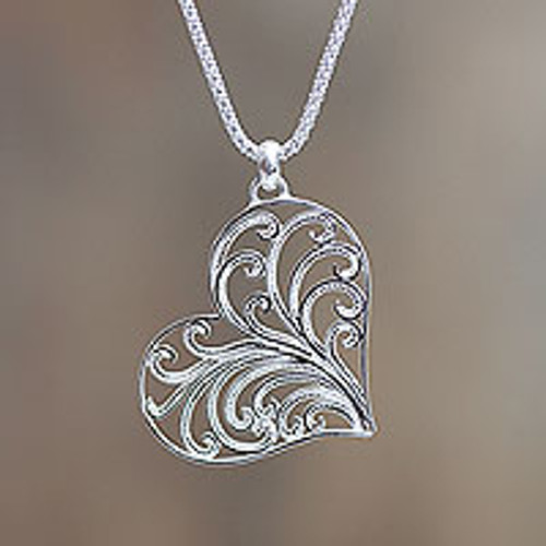 Handmade Sterling Silver Filigree Heart Necklace from Peru 'Lace Valentine'
