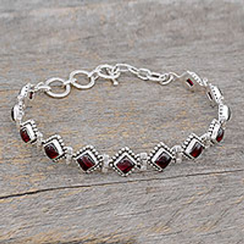 Red Garnet Artisan Crafted India Silver Tennis Bracelet 'Deep Red Diamonds'
