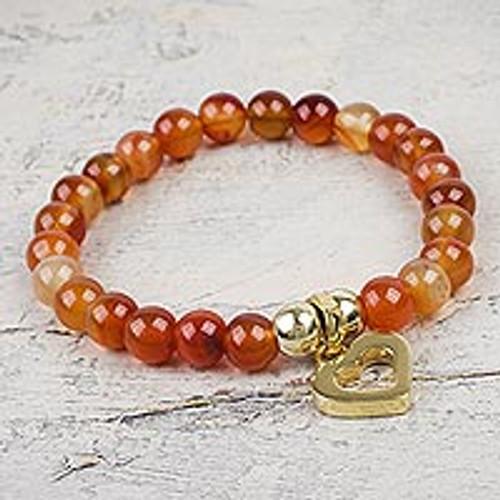 Carnelian Beaded Bracelet with Shiny Golden Heart Charm 'My Heart of Gold'