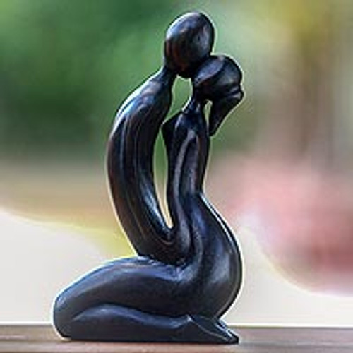 Romantic Hand Carved Wood Sculpture of Lovers Kiss 'The Kiss'