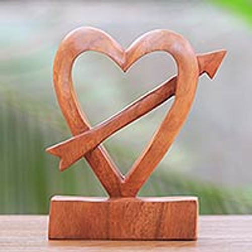 HandCarved Natural Wood Heart Statuette from Bali 'Fall in Love'