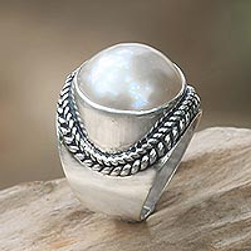 Balinese Cultured Pearl Sterling Silver Womens Ring 'Luminous Embrace'