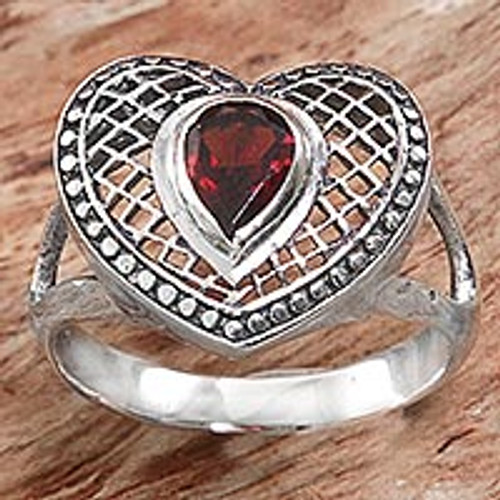 Sterling Silver and Garnet Heart Shaped Cocktail Ring 'Bali Heart in Red'