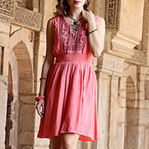 Sleeveless Crinkled Rayon Dress in Rosy Pink 'Rosy Dawn'