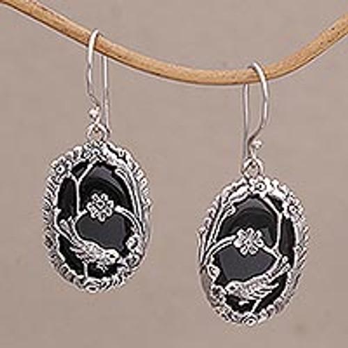 Onyx and 925 Silver BirdThemed Dangle Earrings from Bali 'Avian Curiosity'
