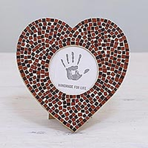 3 in. Glass Mosaic Heart Photo Frame in Red from India 'Romantic Memories'