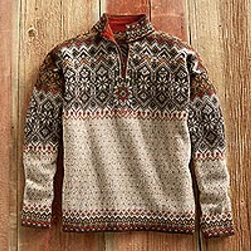 Mens Grecas Alpaca Sweater 'Grecas'
