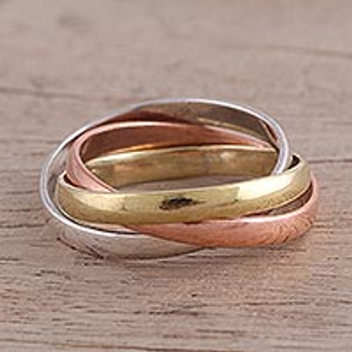 Sterling Silver Copper and Brass Band Ring from India 'Classic Trio'
