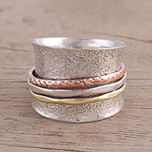 Sterling Silver India Meditation Ring with Copper and Brass 'Stylish Textures'