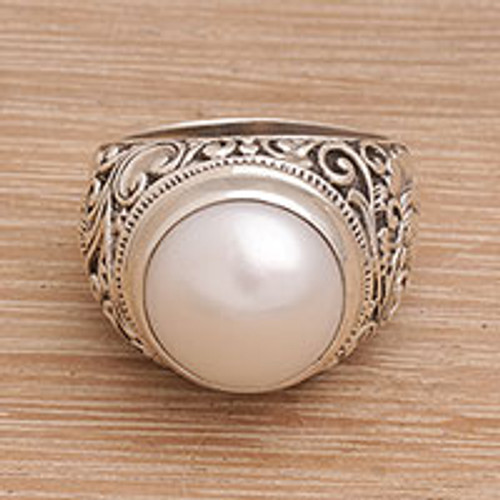 Cultured Pearl Floral Cocktail Ring from Bali 'Floral Crown'