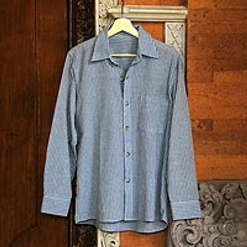Blue Striped LongSleeved Mens Cotton Shirt from Guatemala 'Pacific Ocean'