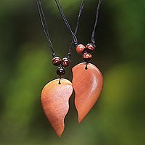 Matching Heart Halves Wood Pendant Necklaces Pair 'Shared Heart'