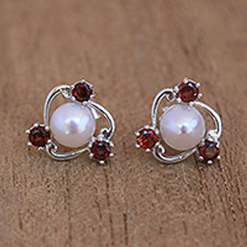 Cultured Pearl and Garnet Stud Earrings from Bali 'Sparks Fly'