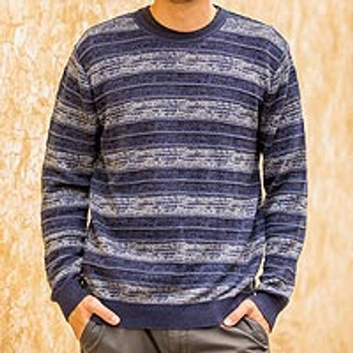 Mens Blue Pima Cotton Crewneck Sweater 'Laguna'