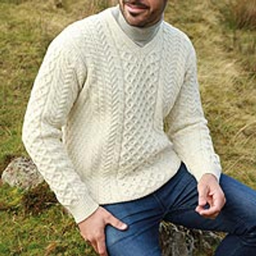 Mens Irish Aran Islands Wool VNeck Sweater 'Cliffs of Inis Mor'