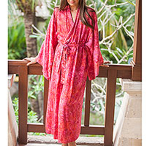 Batik Rayon Robe in Rose and Berry Pink from Bali 'Batik Blush'