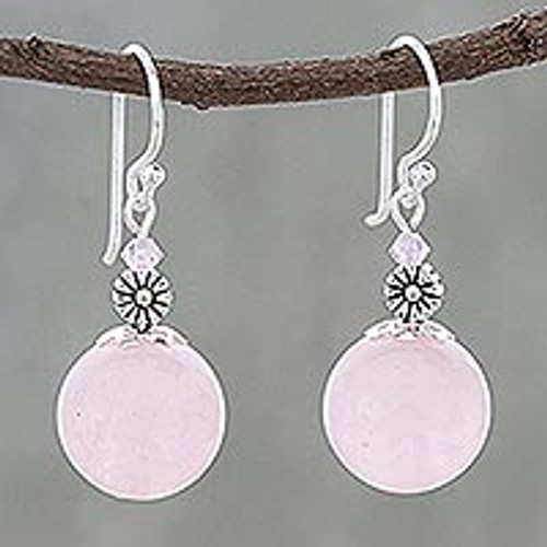 Rose Quartz Beaded Dangle Earrings from Thailand 'Bonbon Bloom'