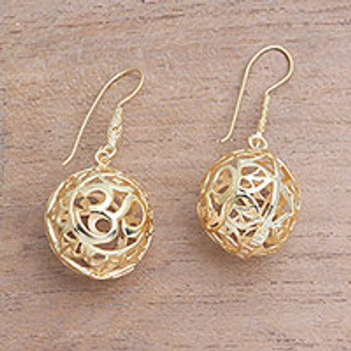 18k Gold Plated Sterling Silver Om Dangle Earrings 'Omkara Orbs'