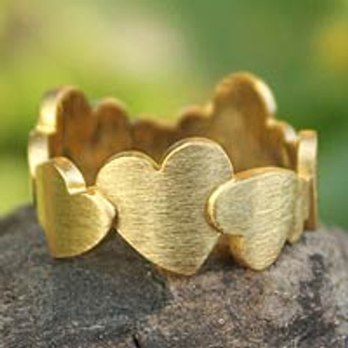 Heart Shaped Gold Plated Band Ring 'Much Love'