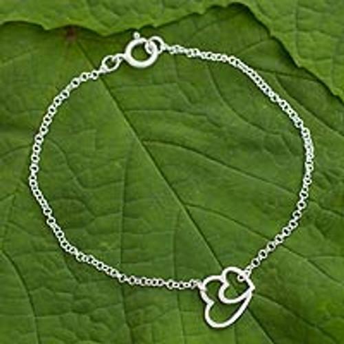 Sterling silver heart bracelet 'Love Unites'