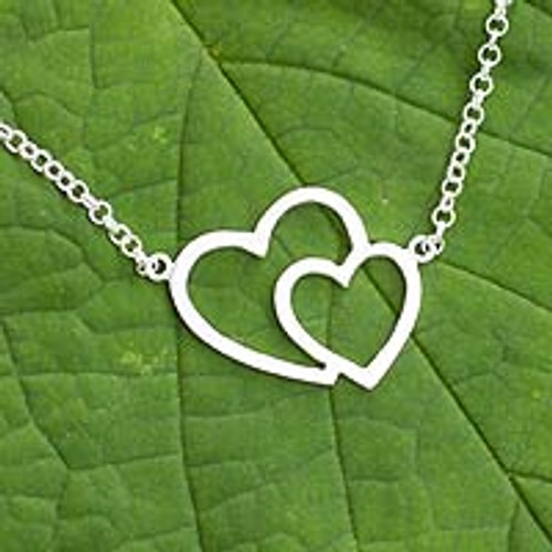 Sterling silver heart necklace 'Love Unites'