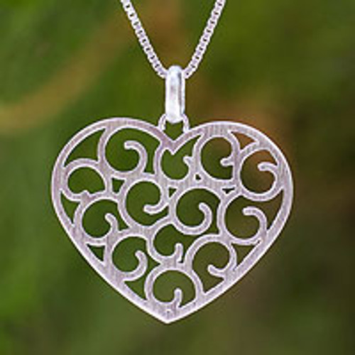 Sterling silver heart necklace 'Thai Love'
