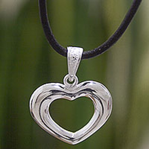 Romantic Hand Crafted Silver Heart Necklace and Leather Cord 'Modern Love'