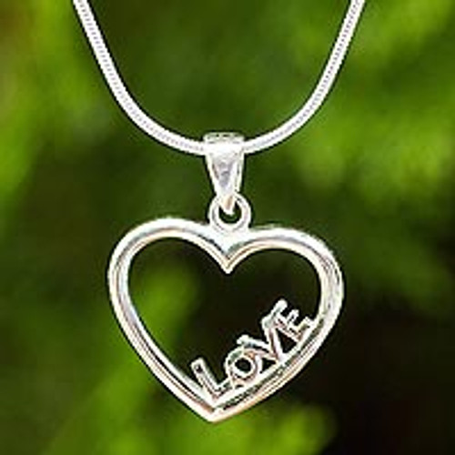 Thai Artisan Crafted Sterling Silver Heart Necklace 'Love in My Heart'
