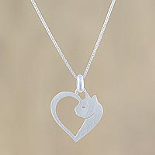 Cat Heart Sterling Silver Pendant Necklace from Thailand 'Soul of a Kitten'