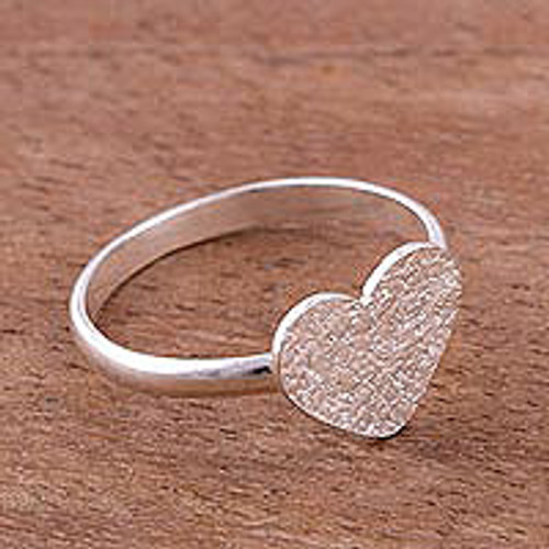 HeartShaped Sterling Silver Cocktail Ring from Peru 'Enamored Heart'