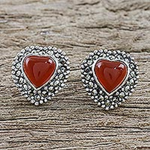 Heart Shaped Enhanced Onyx and Marcasite Button Earrings 'Victorian Heart'