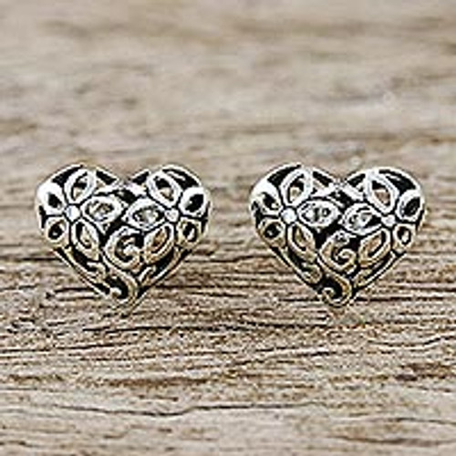 Floral HeartShaped Sterling Silver Earrings from Thailand 'Petaled Hearts'