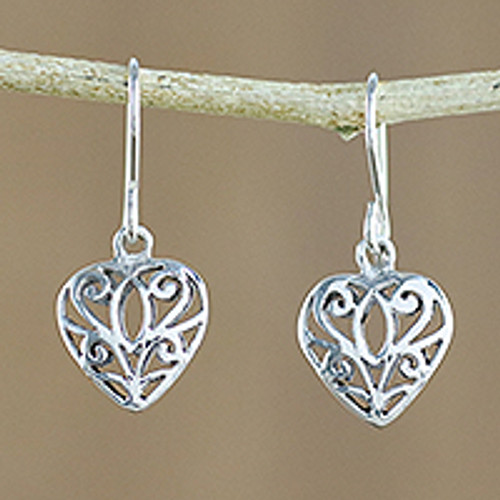 Artisan Crafted Sterling Silver Heart Earrings from Thailand 'Heartfelt Beauty'