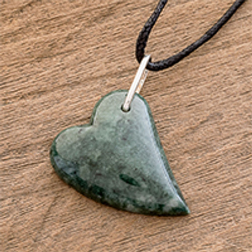 Handcrafted Green Jade Heart on Cotton Cord Pendant Necklace 'Love Floats'